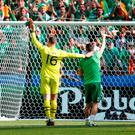 Shay Given and Robbie Keane acknowledge the Ireland supporters in Lyon yesterday. REUTERS/Kai Pfaffenbach Livepic