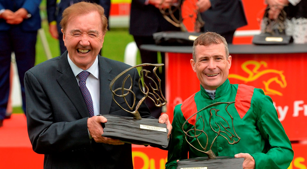Dermot Weld and Pat Smullen have plenty to smile about after Harzand's victory in the Dubai Duty Free Irish Derby at The Curragh. Photo by Cody Glenn/Sportsfile
