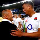 England's head coach Eddie Jones celebrates with player Maro Itoje after defeating Australia. Picture: REUTERS/David Gray