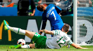 Shane Duffy fouls Antoine Griezmann which led to the Ireland defender being sent off. Photo: Stephen McCarthy/Sportsfile