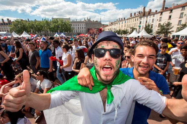 Irishs and French fans watching Ireland and France in the Euro 2016 at the fan zone in Lyon. Photo: Mark Condren