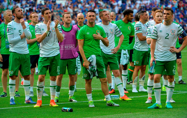 The Irish players look on as they are applauded by their supporters. Photo: David Maher/Sportsfile