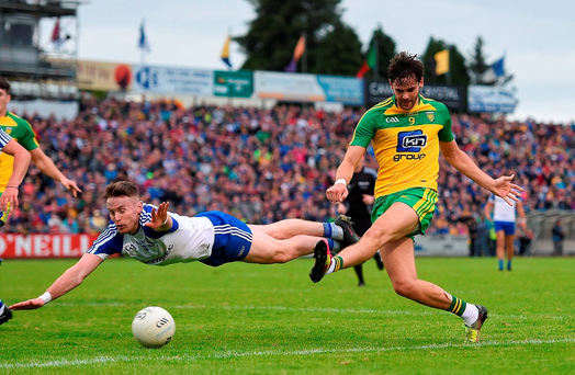 Donegal's Odhrán Mac Niallais shoots to score the only goal of the game during their drawn Ulster SFC semi-final against Monaghan at Kingspan Breffni Park. Photo by Ramsey Cardy/Sportsfile