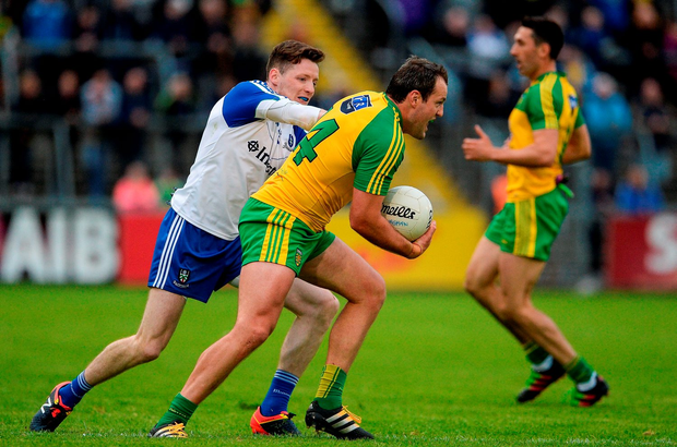 Michael Murphy of Donegal in action against Conor McManus of Monaghan. Photo by Oliver McVeigh/Sportsfile