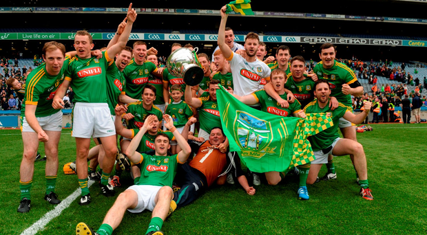 Meath players celebrate after their dramatic Christy Ring Cup final victory over Antrim in Croke Park. Photo by Piaras Ó Mídheach/Sportsfile
