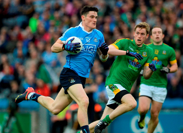 Dublin's Diarmuid Connolly attempts to evade Meath's Donal Keogan. Photo: Oliver McVeigh/Sportsfile
