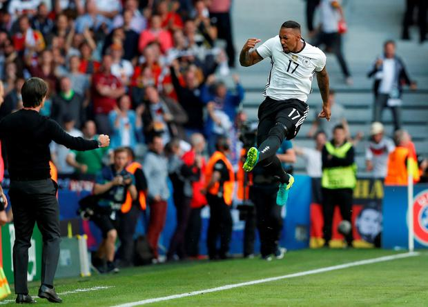 Germany's Jerome Boateng celebrates scoring against Slovakia. Photo: Carl Recine/Reuters