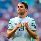 Republic of Ireland's Robbie Brady applauds supporters after the final whistle. Photo: Chris Radburn/PA Wire.