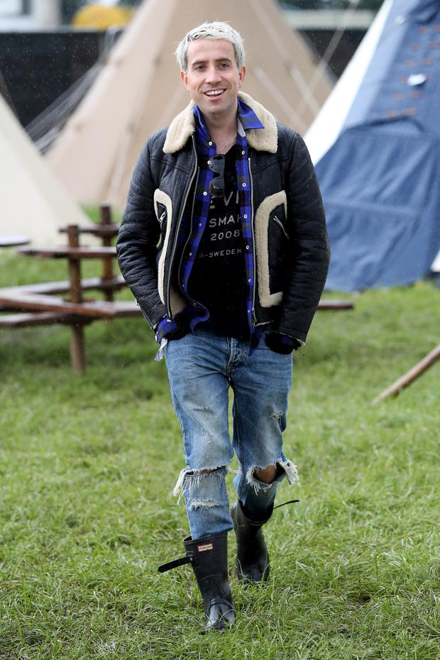 Nick Grimshaw wearing Coach attends the Glastonbury Festival at Worthy Farm, Pilton on June 24, 2016 in Glastonbury, England. (Photo by Alex B. Huckle/Getty Images)