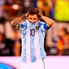 Lionel Messi #10 of Argentina looks on before the game winning penalty kick is made during the Copa America Centenario Championship match at MetLife Stadium on June 26, 2016 in East Rutherford, New Jersey. Chile defeated Argentina 4-2 in penalty kicks. (Photo by Mike Stobe/Getty Images)