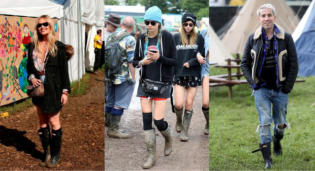 Laura Whitmore, Cara Delevingne and Nick Grimshaw attend Glastonbury 2016