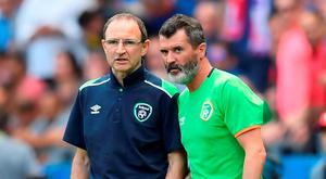 Republic of Ireland manager Martin O'Neill, left, and assistant manager Roy Keane during the UEFA Euro 2016 Round of 16 match between France and Republic of Ireland at Stade des Lumieres in Lyon, France. Photo by Stephen McCarthy/Sportsfile