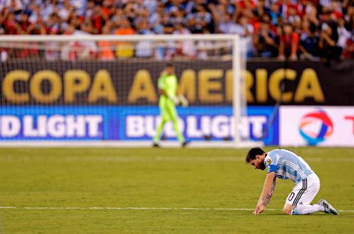 Lionel Messi during the penalty shootout last night