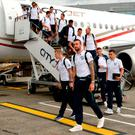 The Republic of Ireland squad including Shane Duffy, front, on their arrival back from UEFA Euro 2016 on CityJet's new Superjet. Photo by Piaras Ó Mídheach/Sportsfile