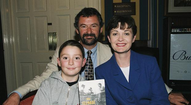 Una O'Hagan, Colm Keane and their late son Sean pictured at the launch of 'The Teenage Years' (1997) Photo Credit: RTE Archives