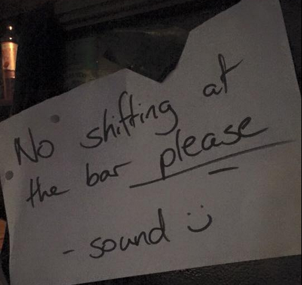 The sign was placed in the Roisin Dubh pub in Galway. Photo: Facebook