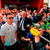Robbie Keane talks to the gathered press and supporters during their return from France