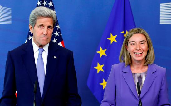 US Secretary of State John Kerry and EU foreign policy chief Federica Mogherini at a news conference at the EU Commission HQ in Brussels. Photo: Francois Lenoir