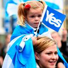 Scottish independence supporters ahead of the 2014 referendum there. REUTERS/Dylan Martinez