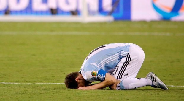 Lionel Messi reacts after Chile's win in the Copa America final Photo: AP