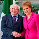 President Michael D Higgins meets Scotland's First Minister Nicola Sturgeon. Photo: Andrew Milligan/PA Wire