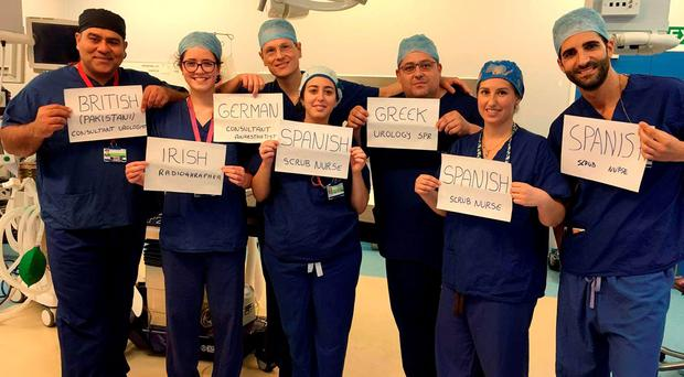 This picture of an NHS surgical team who come from around the European Union has been shared thousands of times online in the wake of the Brexit referendum result. Photo: Junaid Masood/PA Wire