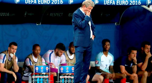 England manager Roy Hodgson stands dejected on the touchline