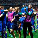Iceland players celebrate after the game