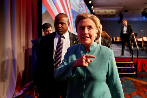 Hillary Clinton leaves the annual Conference of Mayors in Indianapolis. Photo: Chris Bergin