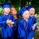 Flynn Kane, Aidan Lernihan and April Coveney are the first group to celebrate their graduation from SKIP, (Special Kids Intervention Programme) run in the Down Syndrome Centre in Sandyford. Photography; Conor Healy Photography