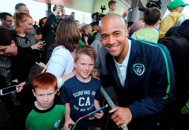 Darren Randolph poses for a picture as crowds gather. Picture: Caroline Quinn