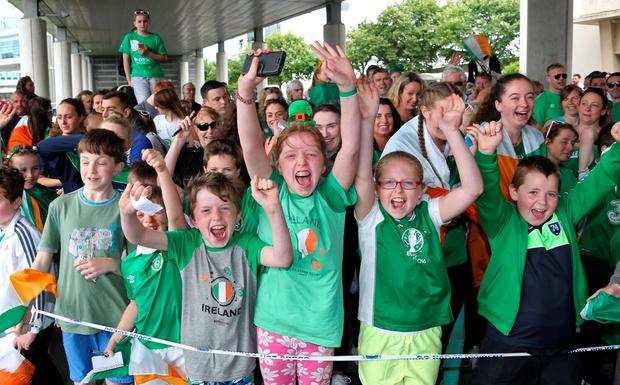Fans pictured this evening at Dublin Airport when the Euro '16 Republic of Ireland team arrived home from France. Picture Colin Keegan, Collins Dublin.