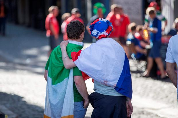 Irish fans who are making their way home from Lyon. Pic:Mark Condren