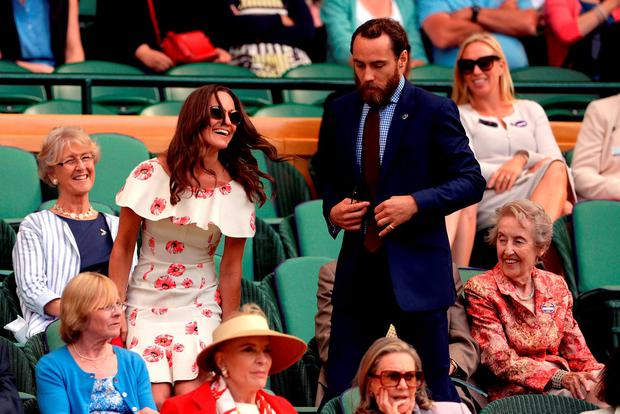 Pippa and James Middleton in the royal box on day One of the Wimbledon Championships at the All England Lawn Tennis and Croquet Club, Wimbledon