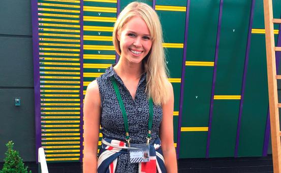 Jennifer Bate, at Wimbledon in London, after her boyfriend Marcus Willis, won his first round match