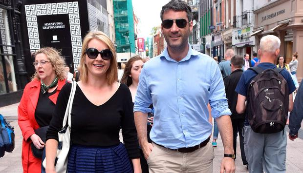 Claire Byrne & Gerry Scollan spotted walking on Grafton Street after getting married last year.