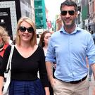 Newlyweds Claire Byrne & Gerry Scollan spotted walking on Grafton Street after getting married last Friday