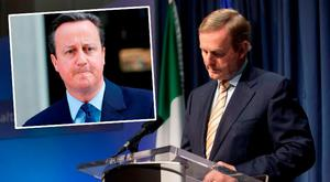 Taoiseach Enda Kenny is set to demand a 'special package' for Ireland. Inset: David Cameron