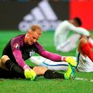 England goalkeeper Joe Hart looks dejected after the final whistle