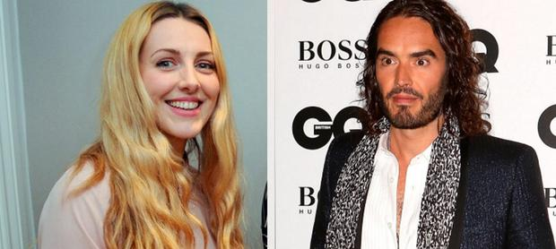 Laura Gallacher, left, and Russell Brand, right