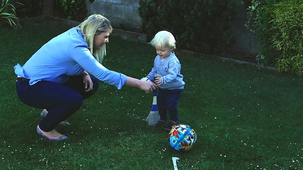 Jacqui Hurley with her son Luke last year in RTE's Pairc Life, Reality Bites