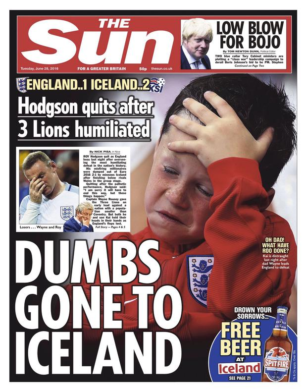 Kai Rooney on today's front page of The Sun