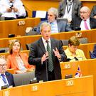 Handout photo issued by the EU of Nigel Farage speaking at the European Parliament in Brussels, Belgium: Dominique Hommel/European Union/PA Wire