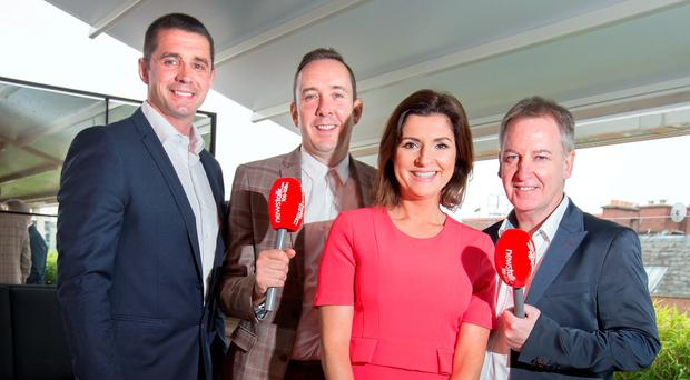 Alan Quinlan, Shane Coleman, Collette Fitzpatrick and Paul Williams at the Newstalk autumn launch in Sophie's rooftop terrace.