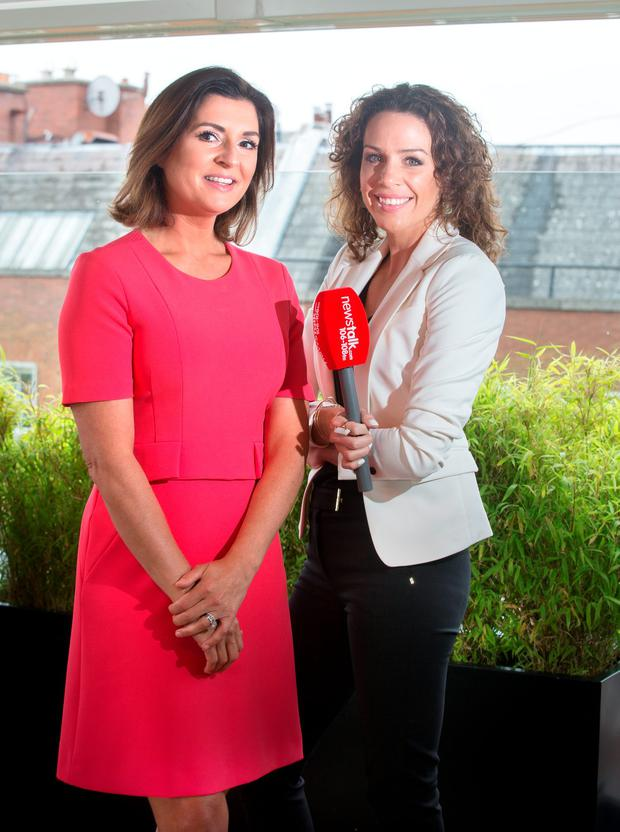 Collette Fitzpatrick and Sarah McInerney at the Newstalk autumn launch in Sophie's rooftop terrace.