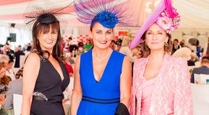 Caroline O'Connell, Annette Rocca & Celia Holman Lee at the Dubai Duty Free Irish Derby at the Curragh Racecourse. Picture: Anthony Woods