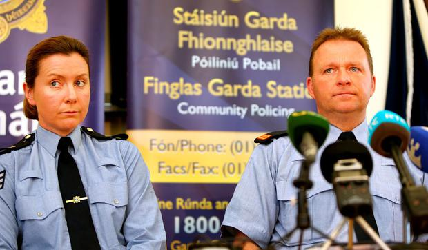 Sgt Carrie O'Connor and Insp John Burke of Finglas Garda station appeal for information on missing Dublin woman Karen Scott. Picture: Gerry Mooney