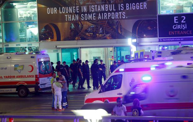 Ambulances arrive at Turkey's largest airport, Istanbul Ataturk. Reuters/Osman Orsal