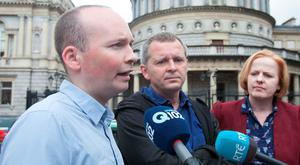 Anti-Austerity Alliance TD Paul Murphy (left) told the Dáil yesterday that the EU was seeking to set aside the Irish general election outcome – which he said was a vote against water charges. Photo: Gareth Chaney Collins