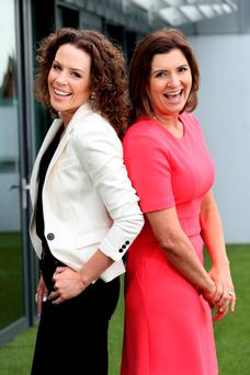 Sarah McInerney and Colette Fitzpatrick at the announcement of Newstalk's autumn schedule last year - both have since left their day slots with the station. Photo: Maxwells